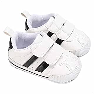 Mix and Max Pull-Tab Contrast-Stripe Low-Top Velcro-Strap Shoes for Boys - White and Black, 12-18 Months