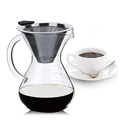 40 ml szklany zaparzacz do kawy, ręcznie kapiący ekspres do kawy z filtrem ze stali nierdzewnej