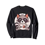 Cute Cookie Eating Racoon Design For Kids And Adults Sweatshirt
