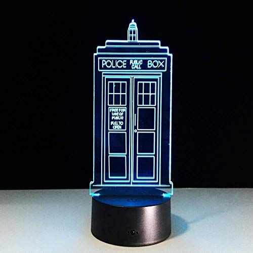 3D Illusion Nachtlicht 7 Farben Wechsellampe Police Box 3D Lampe Acryl LED USB Tischlampe Tardis Lights Mehrfarbiges Bulbing Light