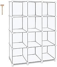 TomCare Cube Storage 12-Cube Book Shelf Storage Shelves Closet Organizer Shelf Cubes Organizer Plastic Bookshelf Bookcase DIY Square Closet Cabinet Shelves for Bedroom Office Living Room, White