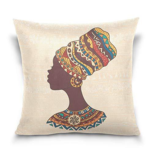 Use7 Kissenbezug, dekorativer Kissenbezug, quadratisch, afrikanische Frau, Vintage, stilvoll, Azteken-Muster, für Sofa, Bett, 2 Seiten, Textil, Multi, 40 x 40cm/16 x 16 Inches