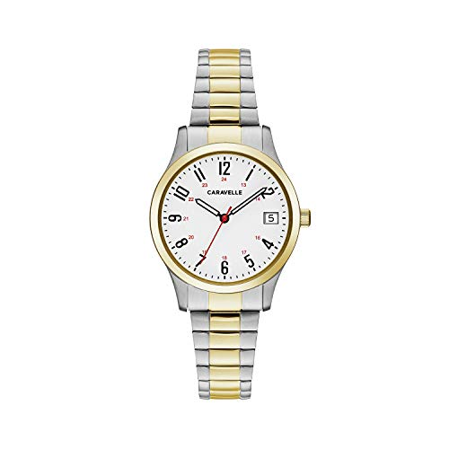 Caravelle Designed by Bulova Women's Quartz Watch with Stainless-Steel Strap, Two Tone, 15 (Model: 45M111)