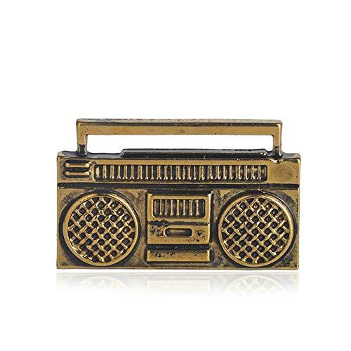 QSCVHU Nuevo Clásico Pequeño Forma de Radio Broche Pin Color Dorado Antiguo...