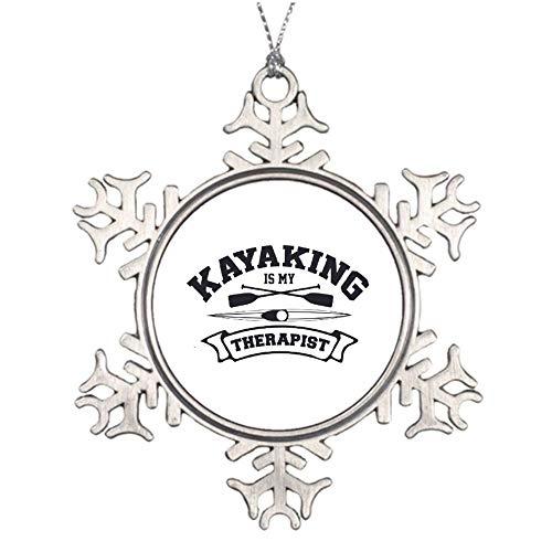 "No brands 8cm 3"" Snowflake Christmas Ornaments Kayaking is My Therapist-01 Metal Snowflake Keepsake Christmas Tree Hanging Decoration Winter Wonderland Xmas Holiday Party"