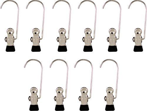 MAWA Metallklammern K 1, 10 Stück, Haushaltklemme mit Haken und mit Metall-Endschutzkappe, z. B. für Handschuhe, 9.5 cm, Schwarz