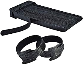 Hmrope 60PCS Fastening Cable Ties Reusable, Premium 6-Inch Adjustable Cord Ties, Microfiber Cloth Cable Management Straps Hook Loop Cord Organizer Wire Ties Reusable (Black Colors)