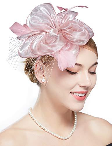 Coucoland Fascinators Hut Damen Elegant Blumen Feder Fascinator Haarreif für Hochzeit Cocktail Tee Party Derby Haar Kopf Accessoires Damen Karneval Fasching Kostüm Zubehör (Pink)