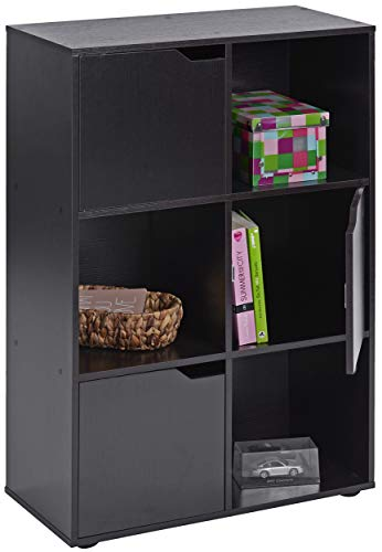 ts-ideen Standregal Bücherregal Sideboard Buchregal Holz Schwarz Modern
