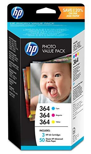 HP 364 Value Pack Photo 3 Cartouches d'Encre Authentiques Cyan/Magneta/Jaune + 50 feuilles de photo (10x15 cm) pour HP DeskJet 3070A et HP Photosmart 5525/6525 (T9D88EE)