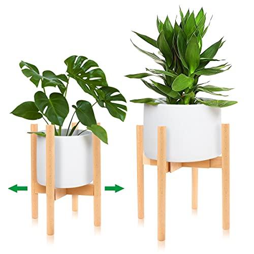 Dsaren Stand di Piante Legno Plant Stand Moderno Mensola per Fiori e Piante Supporto Piante Regolabile per Interni Esterno Balcone Giardino Fioriera Decorativa (Legno bambù)