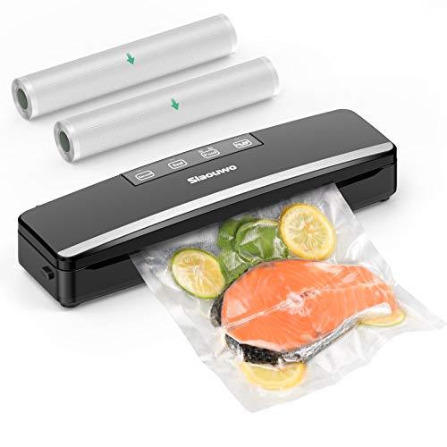 Vacuum Sealer Machine, Slaouwo Automatic Food Saver Machine, Compact Food Sealer Vacuum For Food Preservation, Dry & Moist Food Modes, Patented Cutter, Led Indicator Light, Roll Vacuum Bags
