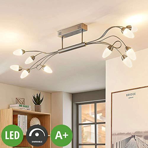 Lampenwelt LED Deckenleuchte 'Deyan' dimmbar (Modern) in Alu aus Metall u.a. für Wohnzimmer & Esszimmer (10 flammig, A+, inkl. Leuchtmittel) - Lampe, LED-Deckenlampe, Deckenlampe, Wohnzimmerlampe