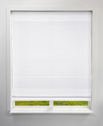 Arlo Blinds Light Filtering Fabric Roman Shades, Color: Cloud White, Size: 26.5' W x 60' H, Cordless Lift Window Blinds