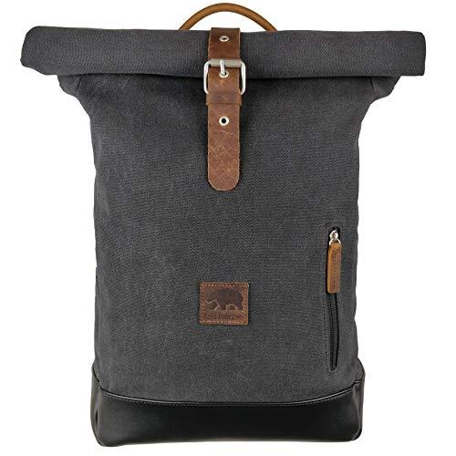 I\'m a Bearliner® - Rolltop Rucksack | aus Baumwolle Canvas und Leder | Tagesrucksack Daypack Alltag Uni | Damen & Herren | grau
