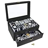 Ikee Design Deluxe Black Watch Display Box with Key Lock, Clear Glass Top, 20 Watch Holders. (Gold Color keylocker)