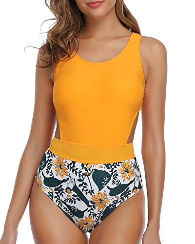 Tempt Me Women's Printed High Neck One Piece Swimsuit Cutout Bathing Suit Yellow Floral L