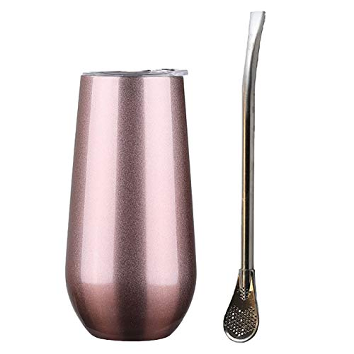 Upgraded Unique Design Stainless Steel Yerba Mate Gourd Tea Cup Set - Includes Lid and Bombilla Straw - Deep Rose Gold