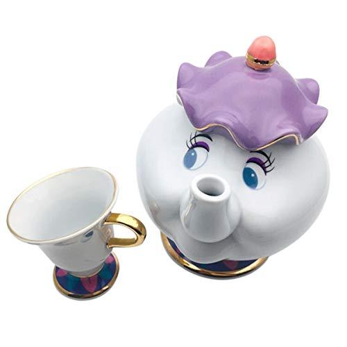 FairytaleMM Nueva Olla de cerámica La Bella y la Bestia Sra. Potts & Chip Tetera y Taza Juego de azúcar Tetera de cerámica esculpida - Colorido