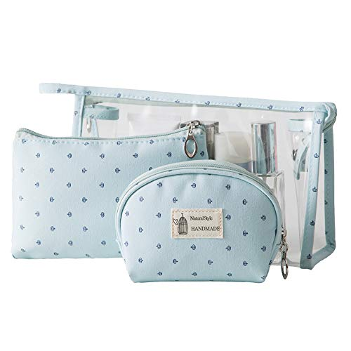 Portable 3 Pieces Travel Toiletry Bag,SparkLia PVC Clear Cosmetic Bags Organizers Makeup Bags Pouch Purse Bag with Zipper for Travel or Daily Use (blue)