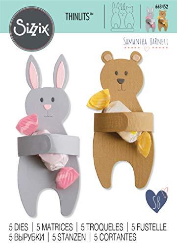 Sizzix Set di Fustelle Thinlits 663452 5 pz Coniglio e Orso Abbracciati by Samantha Barnett, Multicolore, taglia unica