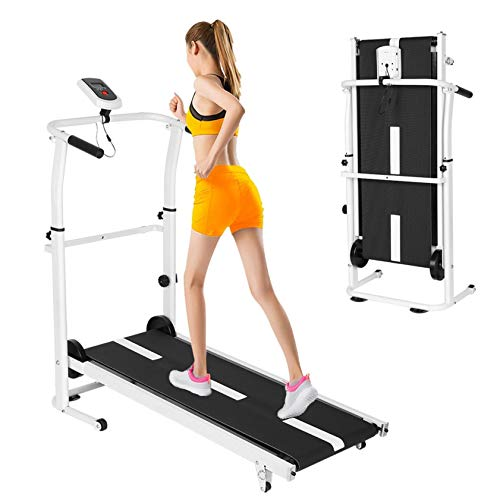 【3-10 Days Delivery】 Manual Folding Under Desk Treadmill,Small Hd LED Display Incline Running Jogging Exercise Cardio Training,Folding Treadmills,440Lbs Weight Capacity