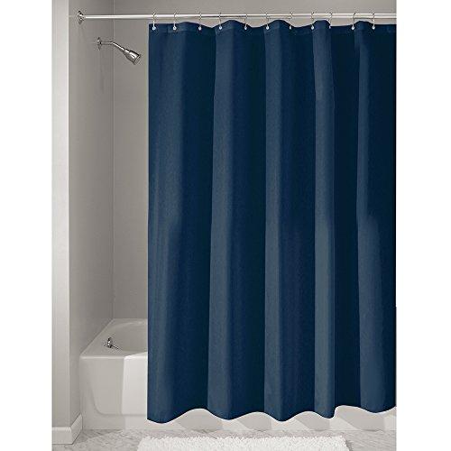 iDesign Duschvorhang aus Stoff | wasserdichter Duschvorhang mit verstärktem Saum | waschbarer Textil Duschvorhang in der Größe 183,0 cm x 183,0 cm | Polyester marineblau