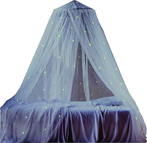 Nuevo dosel de cama de cúpula redonda mejorada con estrellas brillantes de bricolaje, mosquitero blanco y mejor calidad para niños, niños, niñas