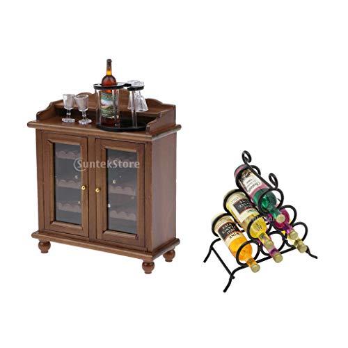 Toygogo 1/12 casa de muñecas miniatura vino gabinete botella taza Set & muebles de estante de vino