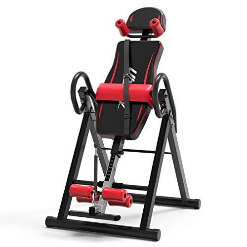 UBOWAY Heavy Duty Inversion Table - with Headrest & Adjustable Protective Belt Back Stretcher Machine for Pain Relief Therapy (Red)