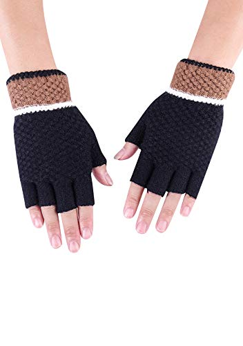 EFOFEI 手袋 通勤 通気性抜群 指出し グローブ スマホ対応 室内手袋 メンズ 日よけ手袋 ランニング 日焼け対策 半指 釣り アウトドア ニット 登山 ウール混 Bブラック
