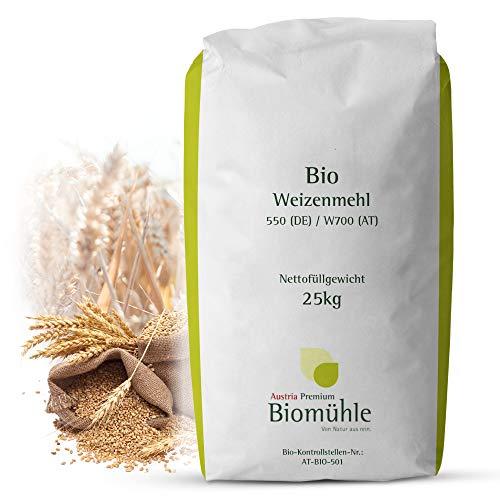 Bio Weizenmehl 25kg Typ 550 | Hochwertiges Mehl - gentechnikfrei und pestizid-kontrolliert | Ideal zum Backen von Brot, Brötchen und Teig