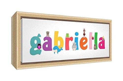 Little Helper LHV-GABRIELLA-1542-FCNAT-15IT Impression sur toile encadrée en bois naturel, motif personnalisable avec le nom de fille Gabriella, multicolore, 19 x 46 x 3 cm