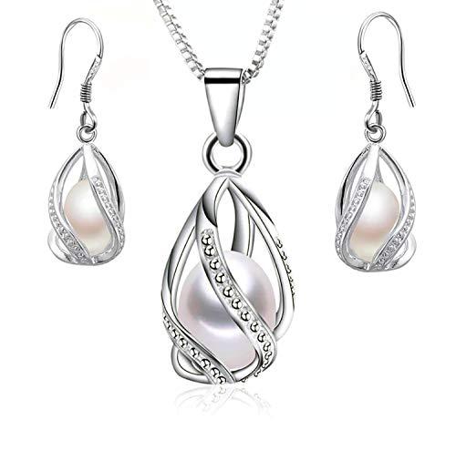 Colgante y Pendientes con Perlas Naturales de Agua Dulce y Plata de Primera Ley Perlas auténticas Clase AAA Set de Joyas para Mujer Esposa (Set Twiss)