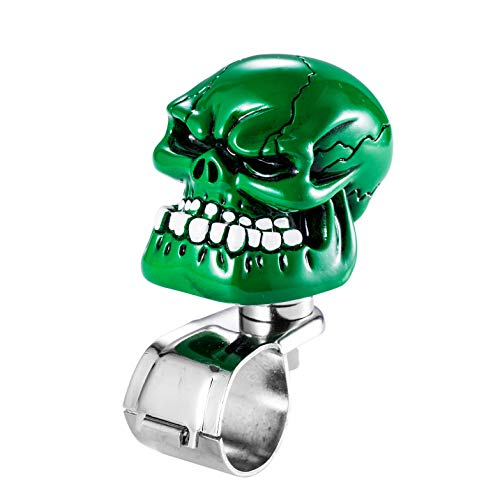 Arenbel Suicide Knob Skull Car Grip Spinner Power Handles Knobs Car Turning Aid fit Most Universal Steering Wheels, Green