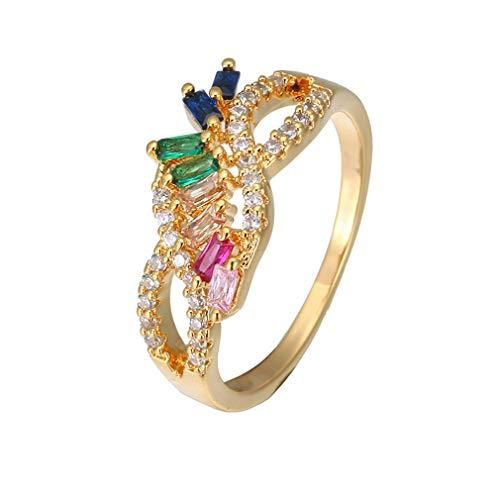 YAZILIND Farbe Regenbogen Zirkonia Verlobungsring Form Schmuck Paar Trauringe #Style 2 18.1