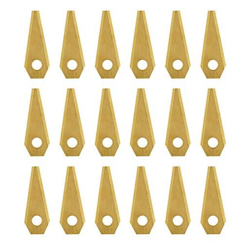 coil.c 18PCS 49x19x1mm Lame de Rechange, Anti-Rouille Durable Tondeuse Cutter, Or, Couteau 18 pièces + 18 vis, pour Bosch Indego