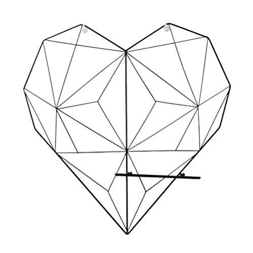 VICASKY Forma de Corazón Panel de pared para fotos, panel de metal como accesorio decorativo, para Organizador de Pared (Negro Corazón Grande)