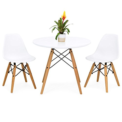 Best Choice Products Kids Mid-Century Modern Dining Room Round Table Set w/ 2 Armless Chairs - White