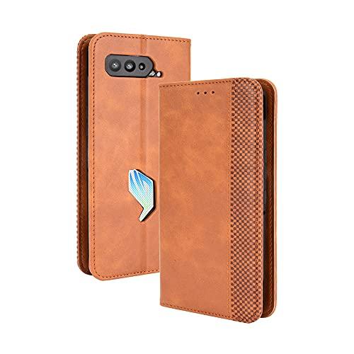 GOGME Leder Hülle für Asus ROG Phone 5 Hülle, Premium PU/TPU Leder Folio Hülle Schutzhülle Handyhülle, Flip Hülle Klapphülle Lederhülle mit Standfunktion und Kartensteckplätzen, Brown