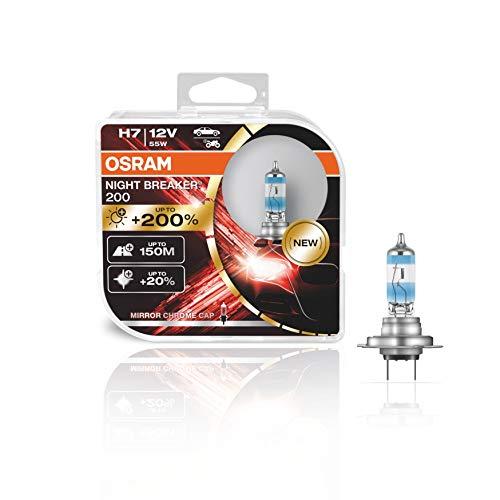OSRAM NIGHT BREAKER 200, H7, + 200% más luz, lámpara de faro halógena, 64210NB200-HCB, 12V, Duo box (2 lámparas)