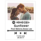 PETinice Spotify Personalizado Glass Song Art Placa de Cristal Cuadro Spotify Cancion Personalizado Spotify Regalo para Novios Novia Tu Madre
