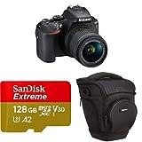 Nikon d5600 Cámara réflex Digital, Negro + SanDisk Extreme - Tarjeta de Memoria microSDXC de 128GB con Adaptador SD, A2, hasta 160MB/s + AmazonBasics - Funda para cámara de Fotos réflex