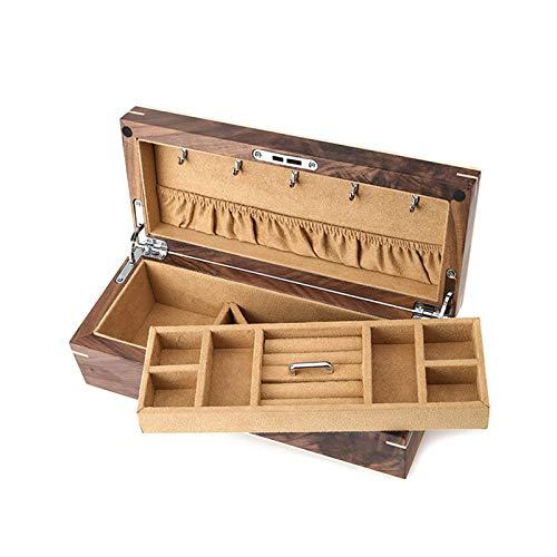 Guarda l'archiviazione del display, caso di orologio in legno Caso di orologio a chiave Custodia a doppio strato Scatola per orologio per orologio Deposito di gioielli (Colore: beige, Dimensione: 30.5