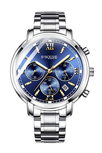 BesTn 腕時計 メンズ 防水 ステンレス カジュアル 多機能 クロノグラフ ウォッチ ビジネスマン 青い文字盤 仕事用 アナログ クォーツ時計 おしゃれ 人気 プレゼント