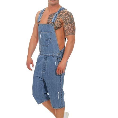 TOPUNDER Wash Broken Pocket Trousers Men's Overall Casual Jumpsuit Jeans Suspender Pants Blue