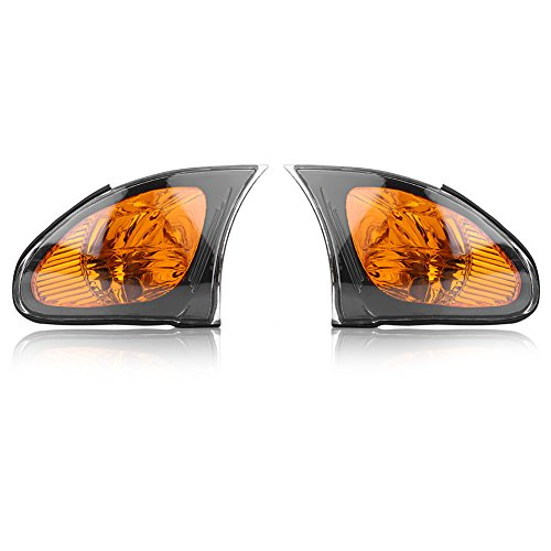 Aramox Corner Light Cover, A Pair of Corner Light Lens Turn Signal Light Cover Yellow Lens Fitment for BMW E46 3-Series 4DR 2002-200