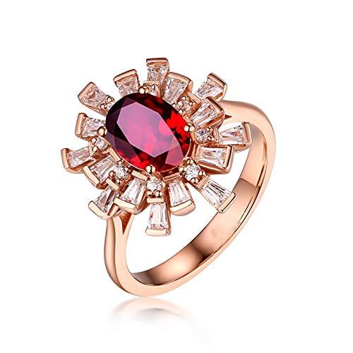 Bishilin Anillo Oro Rosa 750 18K Flor con Rubí Ovalado 0.99Ct Compromiso de Anillos de Boda con Diamante Alto Pulido Anillos Mujer Fiesta de Boda Tamaño: