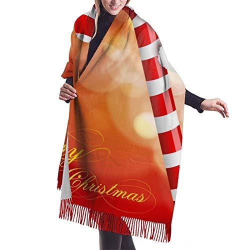 Bastón de caramelo navideño (6) elegante chal suave de cachemira envuelve bufanda de invierno con estola de pashmina para damas ✅