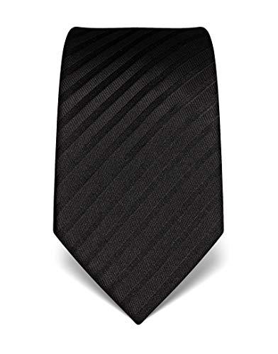 Vincenzo Boretti Herren Krawatte reine Seide gestreift edel Männer-Design zum Hemd mit Anzug für Business Hochzeit 8 cm schmal/breit schwarz